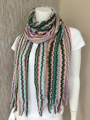 MISSONI MULTI ZIGZAG STRIPE KNITTED FRINGED SCARF MADE IN ITALY BNWT