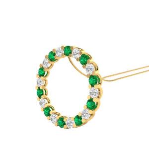 2-00-Ct-Green-Emerald-and-Diamond-Circle-Pendant-18-034-Necklace-14k-Yellow-Gold-GP
