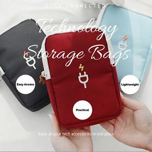 Tech Travel Portable Case Organizer Pouch Bag Headphones USB Cable (Dk Grey)