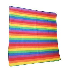 "Gay Pride Rainbow Bandana Cotton Handkerchief Stripe Flag LGBTQ Cotton 22"" x 21"""