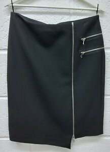 """Zara Black Zip Detail Pencil Skirt - Size L Waist - 32"""" Bnwt Retail £39.99 Promoting Health And Curing Diseases"""