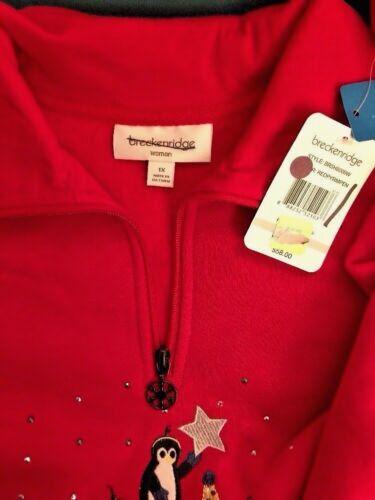 Breckenridge 1X 3X Red Penguin Fleece Zip Top Sweatshirt Sweater Xmas Holiday