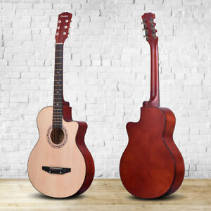 3 4 size 38 walnut 6 string acoustic guitar size beginner adult kid basswood ebay. Black Bedroom Furniture Sets. Home Design Ideas
