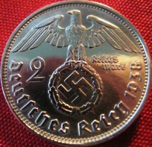 Nazi-German-2-Reichsmark-SILVER-1938-Genuine-Coin-Third-Reich-EAGLE-SWASTIKA-WW2