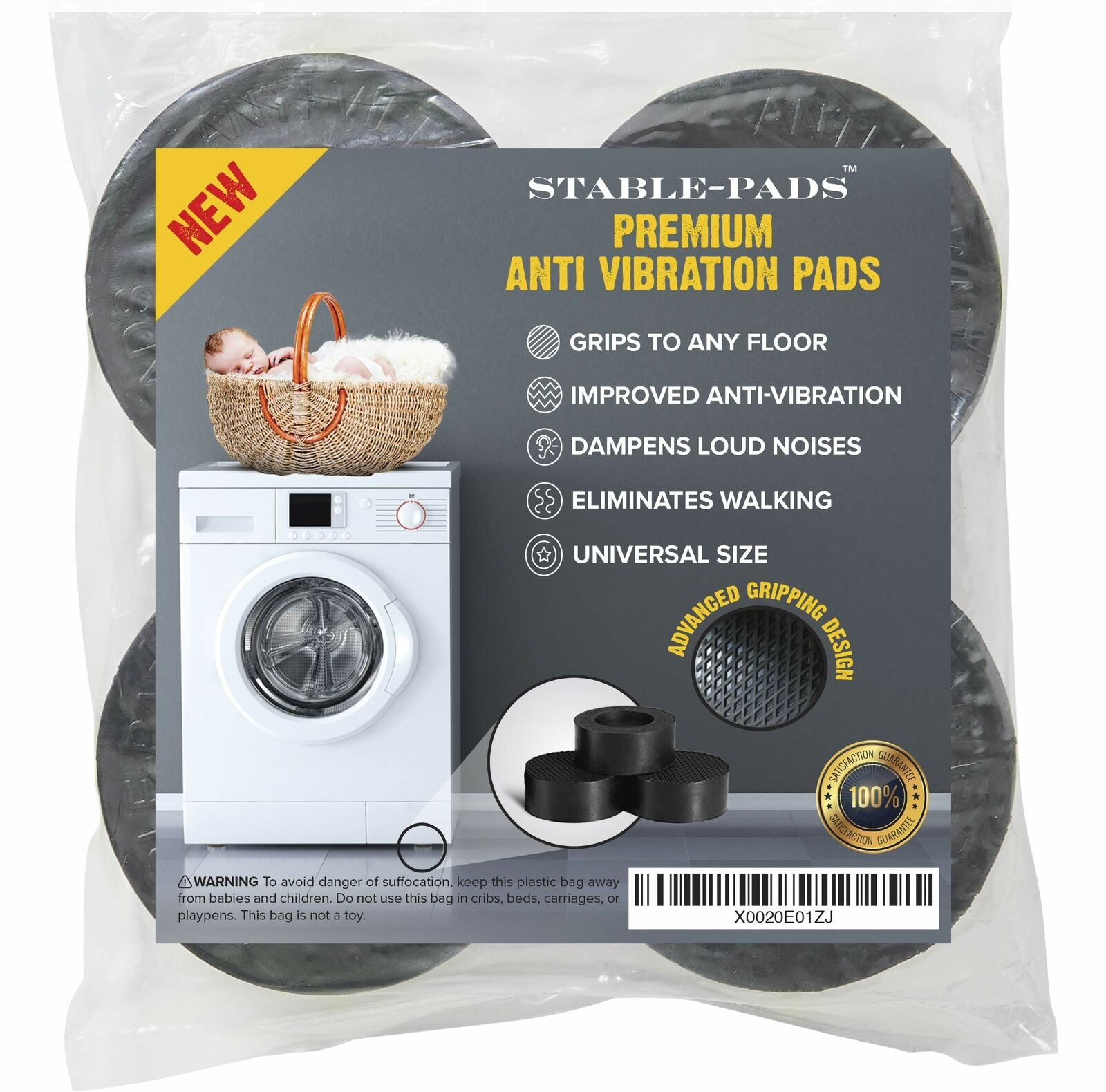 STABLE-PADS Rubber Non-Slip Anti-Walk Anti-Vibration Pads for Washer & Dryer