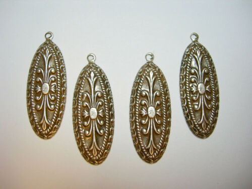 Antiqued Silver Plated Embossed Victorian Art Deco Drops Earring Findings 4