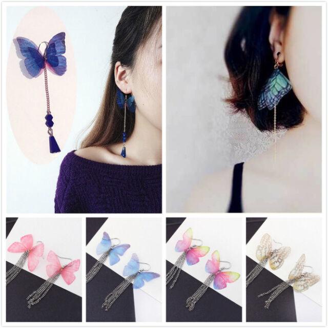 Fashion Women Butterfly Wings Feather Tassel Chain Drop Dangle Hook Earrings