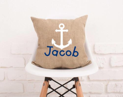Anchor Pillow Cover Burlap Pillowcase Personalized Anchor Boy Name Pillow #108