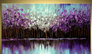 YA445-Home-decor-Hand-painted-Abstract-Oil-Painting-Purple-Forest-Unframed-48-034