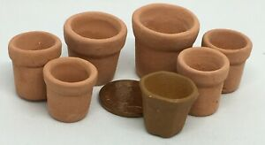 1-12-Scale-7-Assorted-Terracotta-Flower-Plant-Pots-Tumdee-Dolls-House-5-Sizes