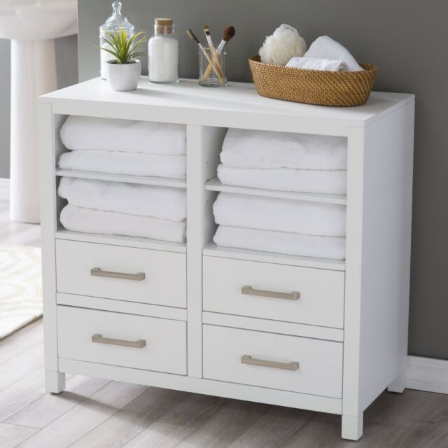 Clic White Freestanding Bathroom Storage Cabinet For Linens Toiletries Chest