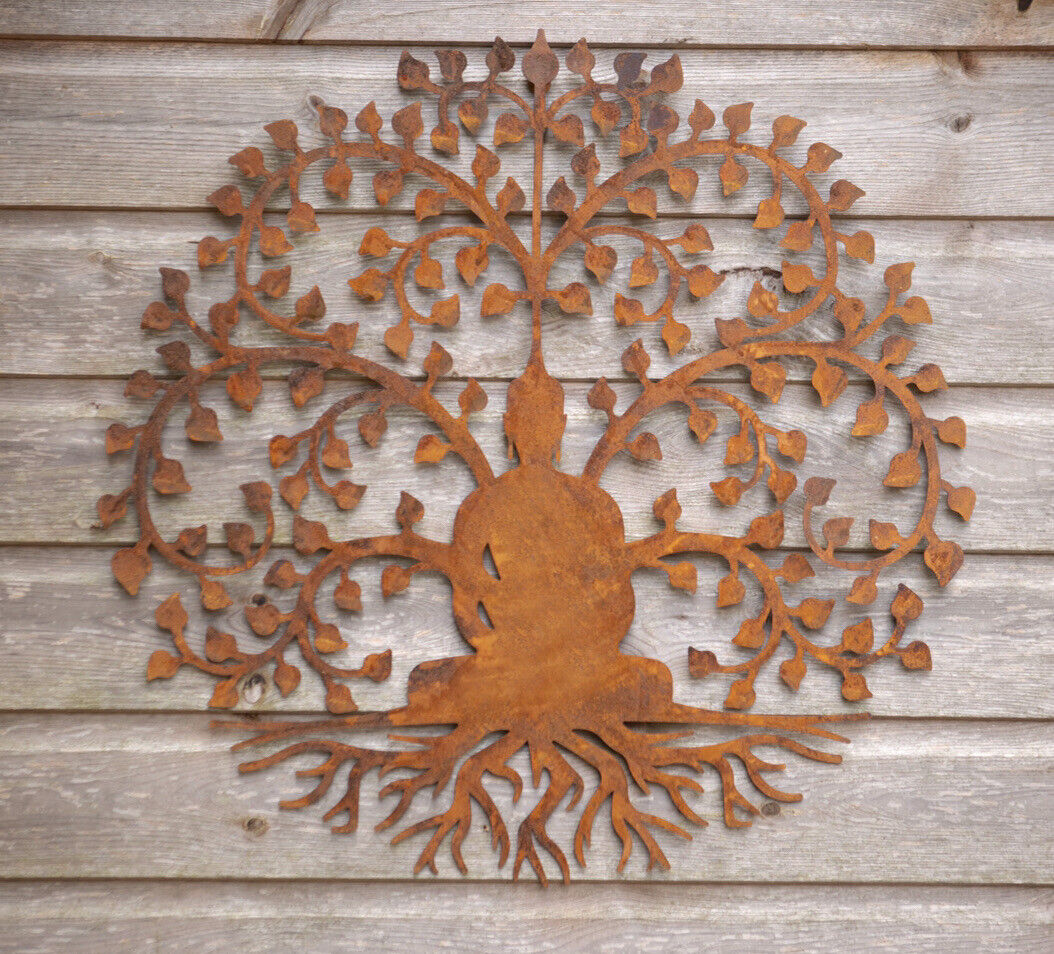 Buddha Garden Wall Fence Plaque Wall Art 60cm Rusted Aged Metal Tree Of Life