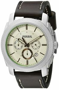 Fossil-Men-039-sMachine-Cream-Dial-Leather-Strap-Chronograph-Watch-FS5108