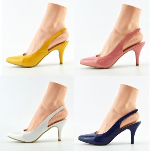 Women/'s Kitten Heel Patent Court Office Party Slingback Shoes