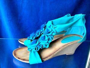 PATRIZIA-by-SPRING-STEP-Ocean-Blue-Ruffle-Wedges-High-Heels-Shoes-Sz-9-40-b11