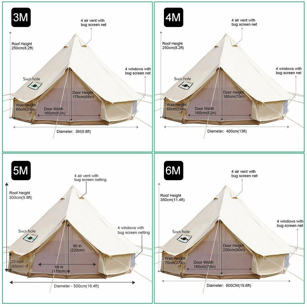 6M 7M Large Luxury Cotton Canvas Bell Tent  Glamping Yurt Tent  high quality