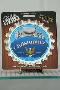 BOTTLE BUSTER CHRISTOPHER~COASTER~FRIDGE MAGNET~BOTTLE OPENER~NEW~FREE US SHIP~