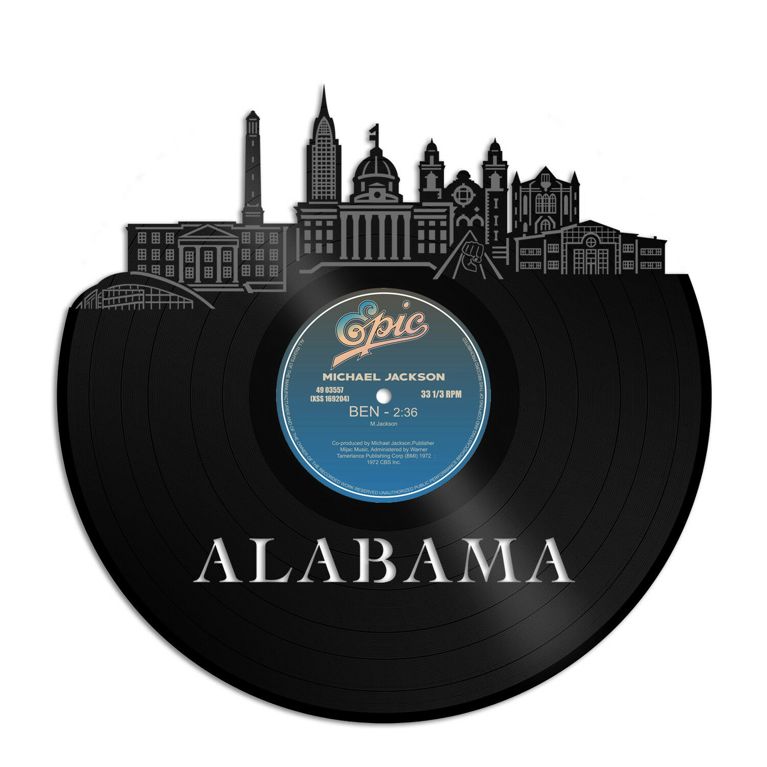 Alabama Vinyl Wall Art Cityscape Souvenir Anniversary Home and Room Decoration