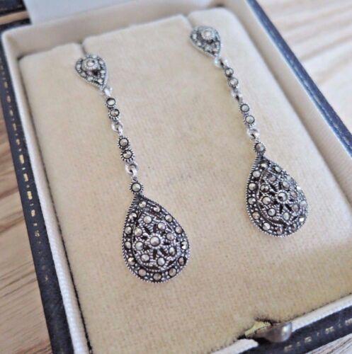 Sterling Silver Art Deco Marcasite Long Drop Earrings