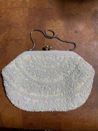 Vintage Beautiful White Beaded Handbag