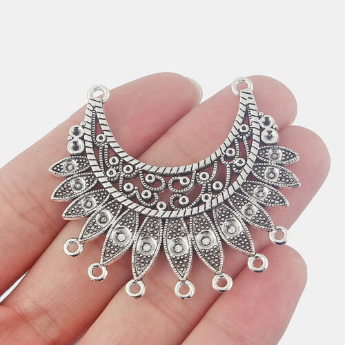 10x Tibetan Silver Crescent Moon Arc Earring Component Connector Porous Charms