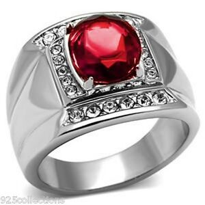 925-Sterling-Silver-11x9-mm-Oval-July-Red-Ruby-Color-Stone-Men-039-s-Ring-Size-7-14