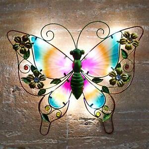 Solar-Powered-Metal-Butterfly-LED-Light-Garden-Wall-Art-Patio-Weatherproof-Decor