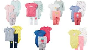 Carter-039-s-Baby-Girls-3-Pc-Cotton-Bodysuits-and-Pants-Set-Choose-Size-and-Color