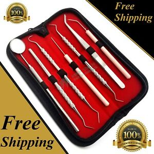 GERMAN-Dental-Scaler-Pick-Stainless-Steel-Tools-with-Inspection-Mirror-Set-7-PCS