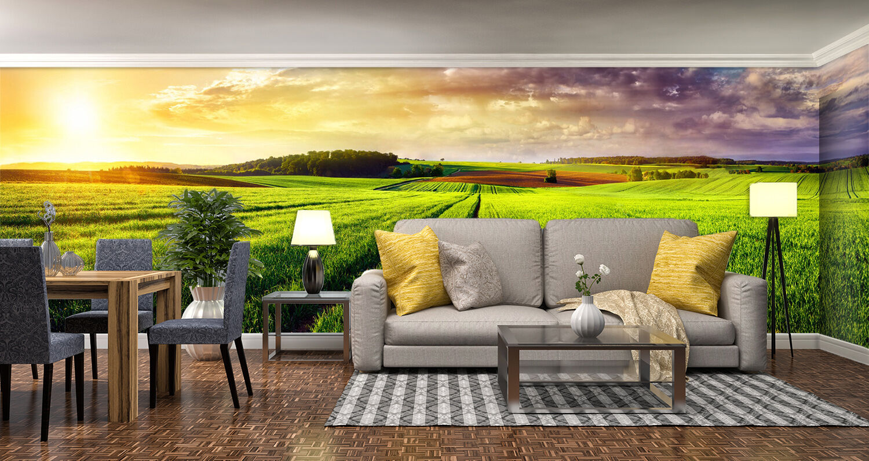 3D grassland sunset fresh Wall Paper Print Decal Wall Deco Indoor wall Mural