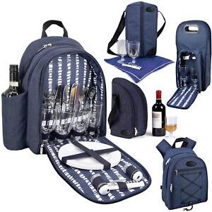 b9b94eca286e Details about GEEZY Denim Picnic Cooler Bag Backpack Wine Bottle Insulated  Picnic Cool Carrier