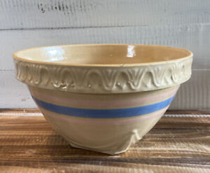 Vintage-Stoneware-USA-Pink-amp-Blue-Stripes-Mixing-Bowl-9-75-034-Diameter-5-5-Tall