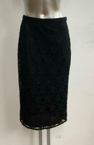 BLACK LACE CASUAL PENCIL TUBE WIGGLE STRETCH KNEE LENGTH SKIRT SIZE 8-16