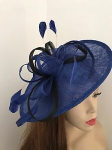 Image is loading Hatinator-Cobalt-Royal-Blue-Black-Saucer-Hat-Wedding- 83ca2c0779b