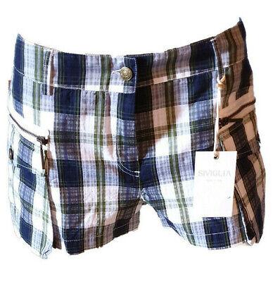 Shorts Bermuda Pantaloncino Hot Pants Quadretti Zip Donna Casual Siviglia Tag.41