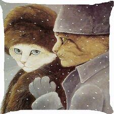 "Retro vintage cat boy girl winter fur hat coat snow romance cushion cover 18"""