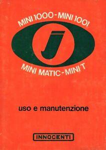 Manuale Uso e Manutenzione /'72 MINI 1000 MINI T 1000 MINIMATIC MINI 1001