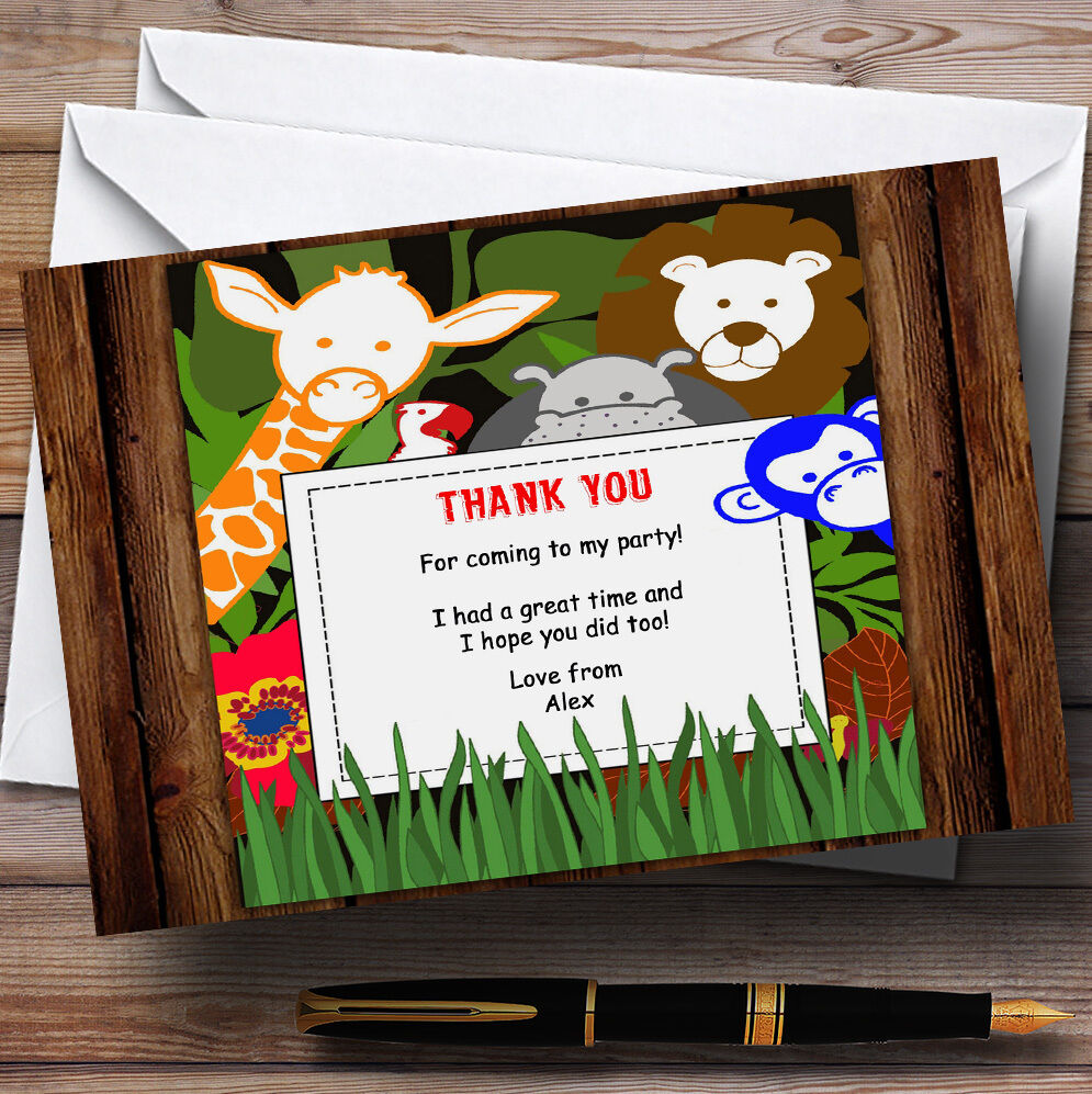 Jungle Animals Lion Hippo Giraffe Monkey Personalised Birthday Thank You Cards