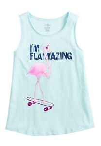 NWT-Girl-039-s-Teal-Flamingo-Graphic-Tank-Size-14