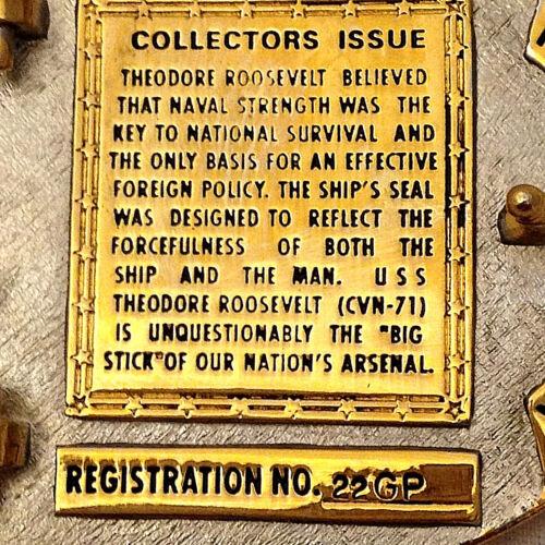 USS Theodore Roosevelt Custom made Navy Belt Buckle CVN-71 Gold Solid Brass