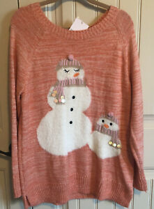 Lauren-Conrad-XL-Fuzzy-Snowmen-Orange-Pink-Long-Sleeve-Sweater-Tunic-NWT