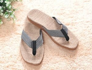 992ee4faa3a Image is loading Healthy-Comfortable-Hemp-Jute-Slippers-Flip-Flops-Thongs-