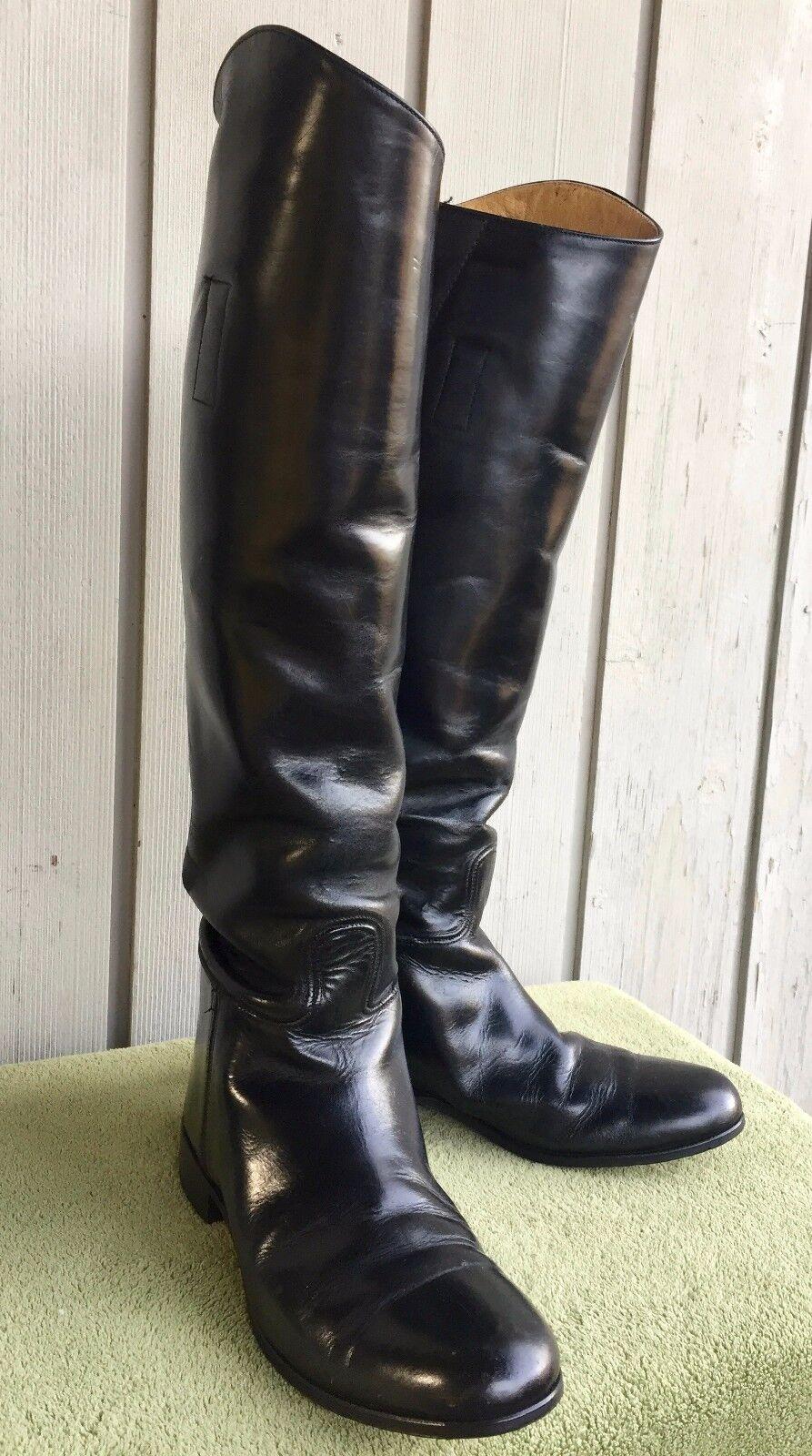 Miller Stockman botas De Montar Para Mujer 7.5W Negro Cuero Ecuestre Mostrar Thin piernas
