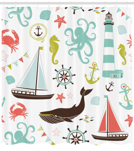 Nautical Shower Curtain Pastel Color Marine Theme Print for Bathroom 70 Inches