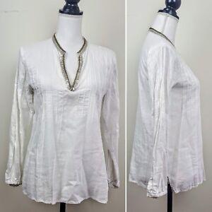 c64ed6336a1885 SPENSE Top White Linen Blend Long Sleeve V-Neck Beaded Boho Peasant ...