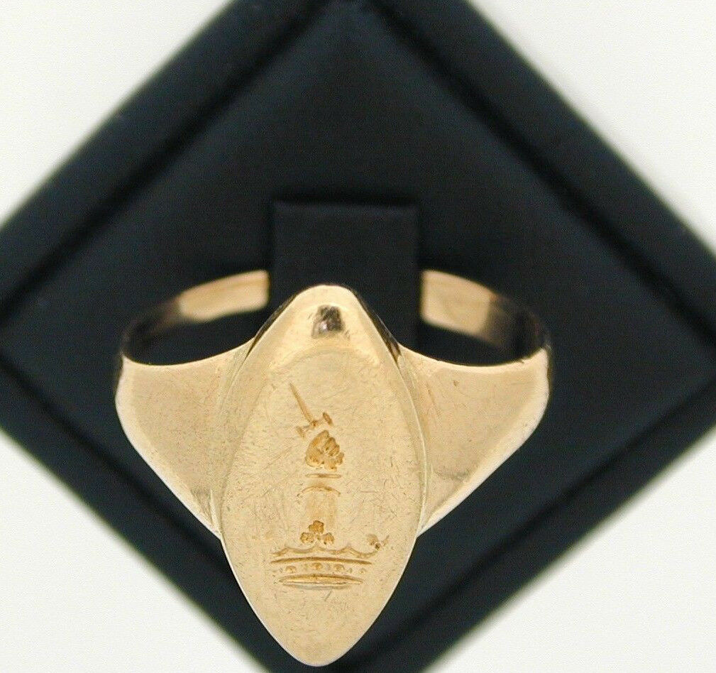 Intaglio 18ct YG YG YG Marquise Forma Anello Con Sigillo Coronet CON BRACCIO sollevato con spada 15376c