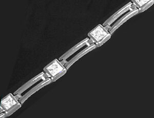 925-SILBER-RHODINIERT-Zirkonia-Armband-Armkette-19-5-cm