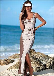 Das Bild wird geladen Sommer-Maxi-Kleid-Beinschlitz-Strandkleid-Blau-Pink -Braun- 806ba47ea2