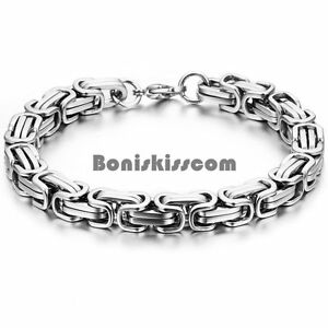 Silver-Square-Byzantine-Polished-Stainless-Steel-Bracelet-Mens-Boys-Chain