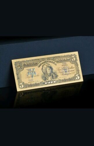 {☆}✔{☆} AMAZING ☆ 《1899 SILVER CERTIFICATE》 INDIAN CHIEF  $5 Rep.*Banknotegjl